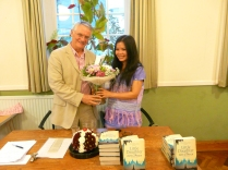 Huw (Chairman) with Zoya Phan - Burma evening May 2012